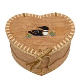 "Medium Heart Shaped Birchbark Basket - 4"" x 7"""