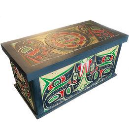 Large Kwak'waka'wakw Bentwood Box - Wolves, Raven and Sun