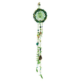 Dreamcatcher with Stones and Beaded Feathers
