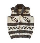 XL Cowichan Vest - Feather Design