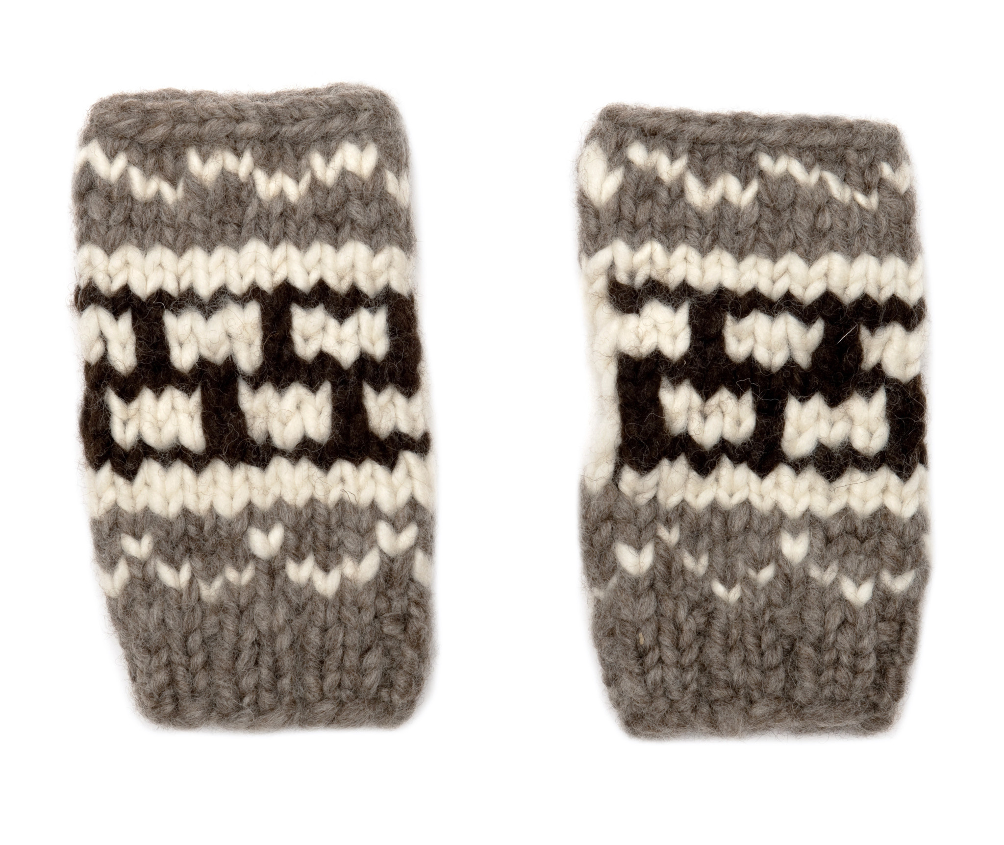 Short Cowichan Fingerless Gloves Mitts
