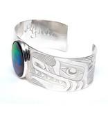 "Silver and Ammolite 1"" Tsimshian Wolf Bracelet"
