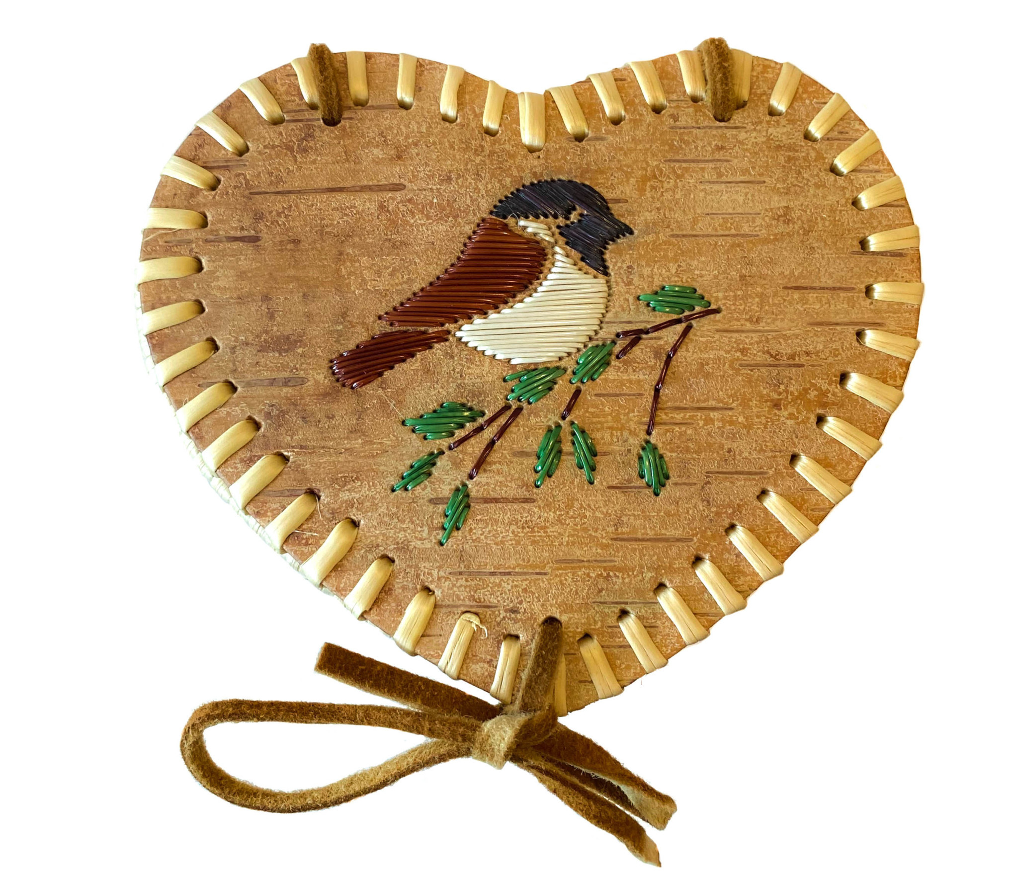 "Small Heart Shaped Birchbark Basket - 3.5"" x 6"""