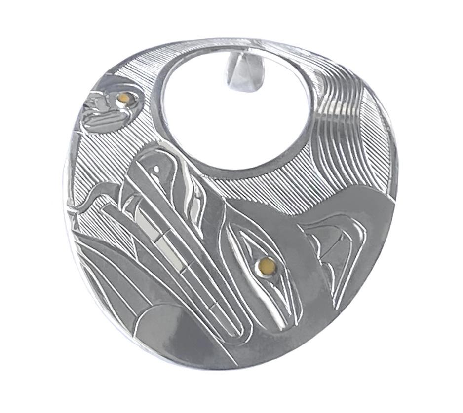 Haida Wolf and Moon Pendant
