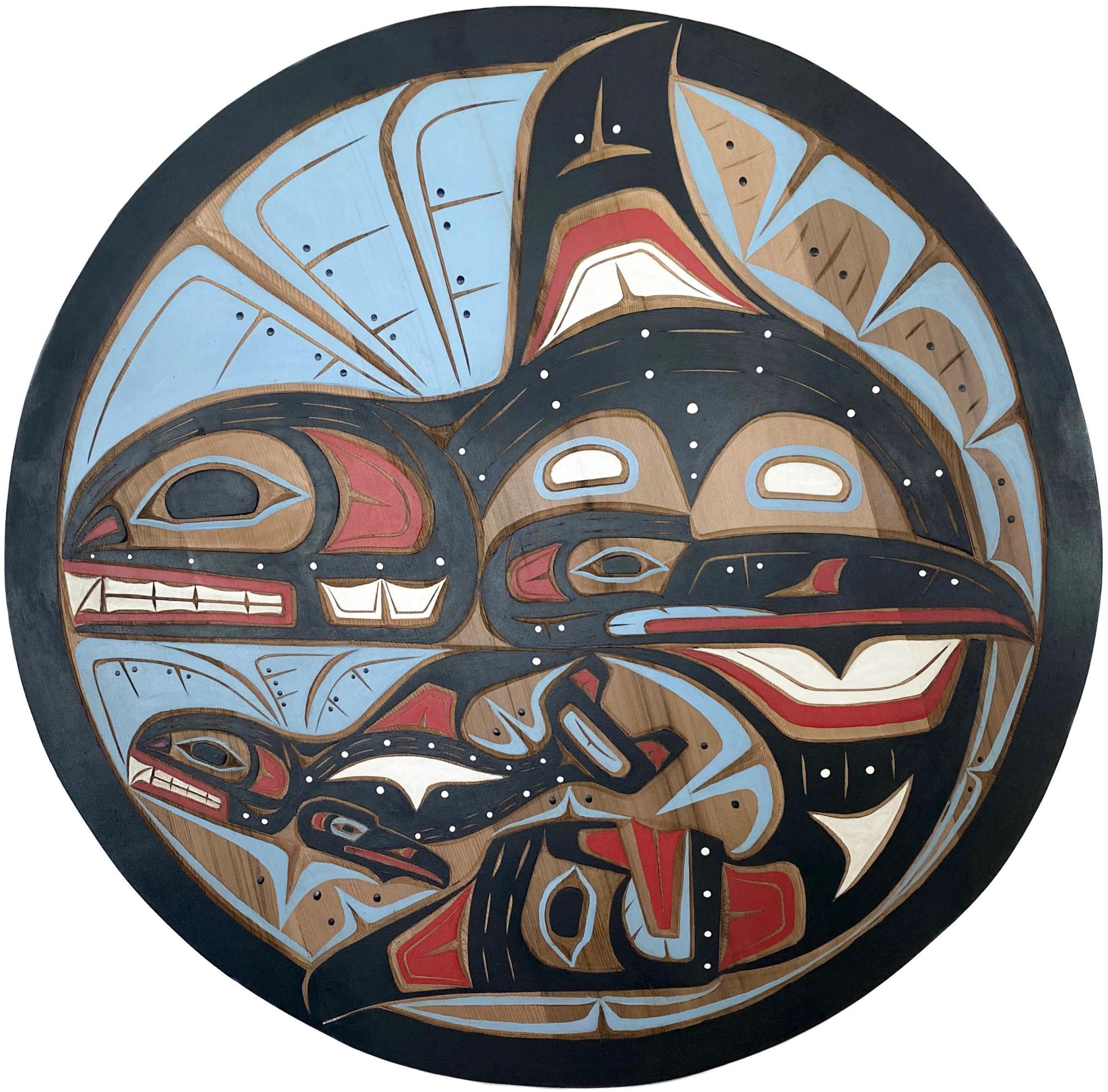 """28"""" Round Orca Mother and Child Panel - Kwak'waka'wakw"""