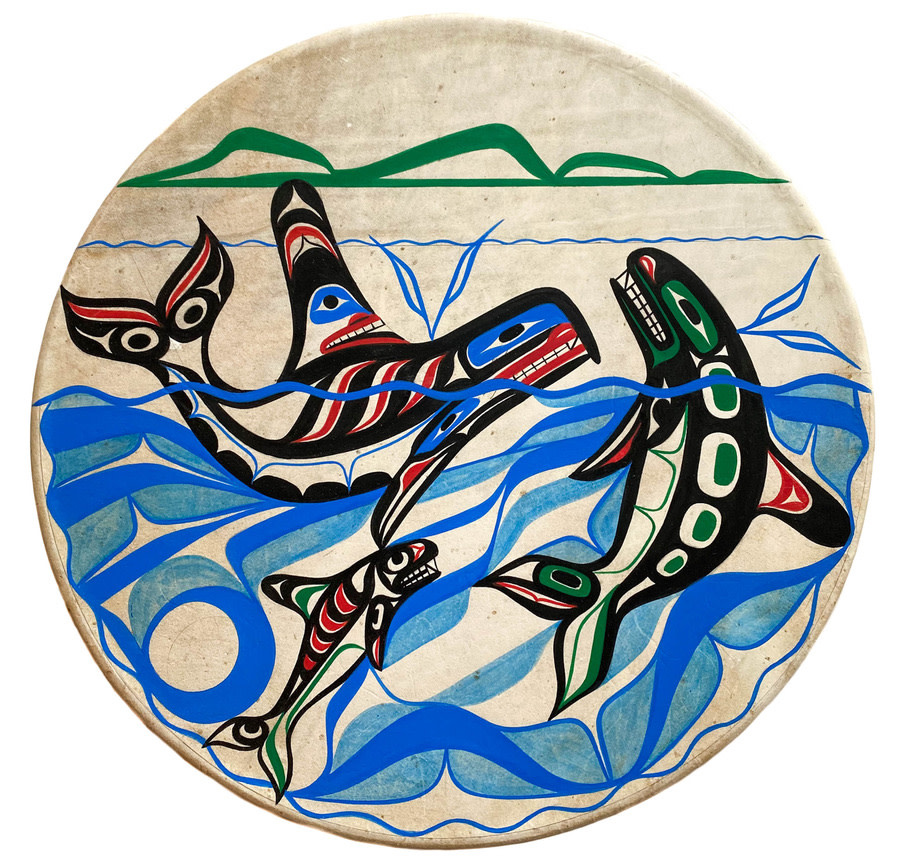 """Nuu-Chah-Nulth Orca Family 16"""" Painted Drum"""