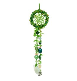 Green Beaded Dreamcatcher with Stones and a Crystal Fish.