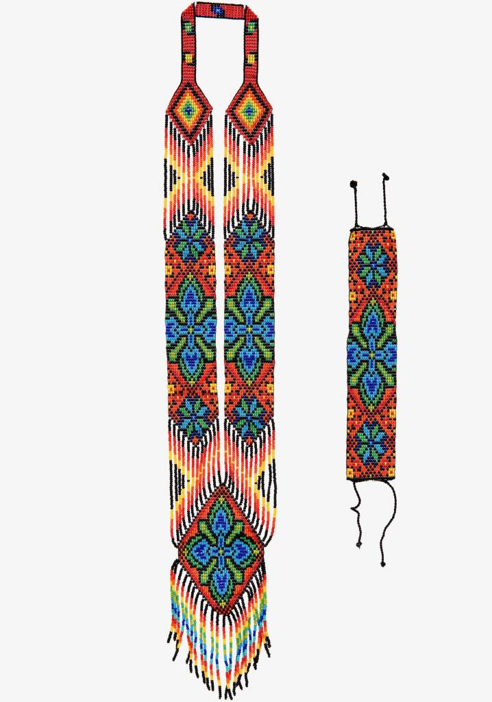 Huichol Beaded Necklace and Bracelet Set Peyote Cactus Design