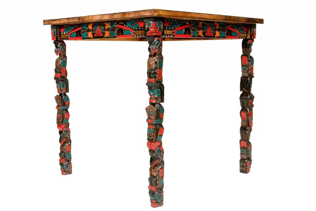 Sun Table with Totem Pole Legs (Kwak'waka'wakw).