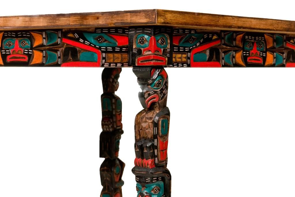 Sun Table with Totem Pole Legs by Jimmy Joseph (Kwagiulth).