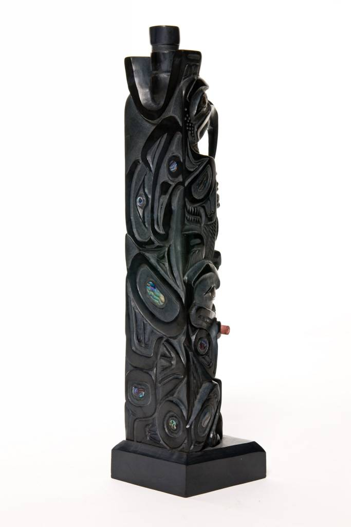 Argillite Model House Post by Lionel Samuels (Haida).