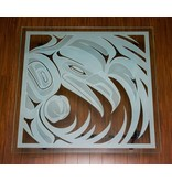 Glass Table with Sandblasted Raven Design by Alano Edzerza (Tahltan).
