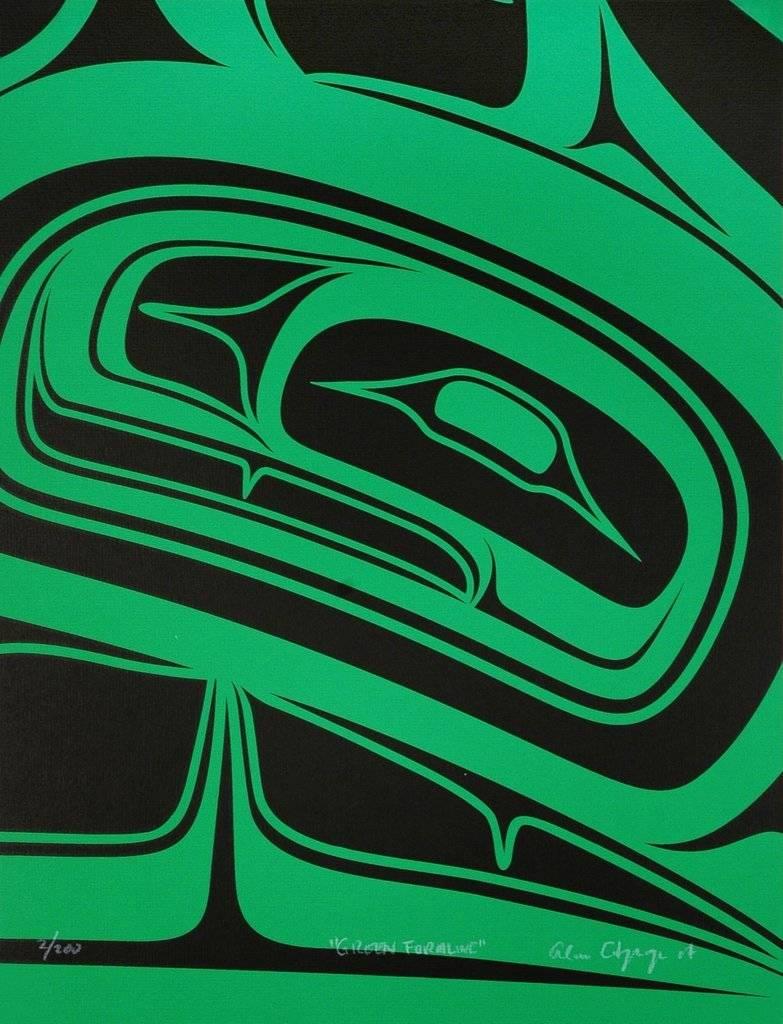 'Green Formline' print by Alano Edzerza (Tahltan).