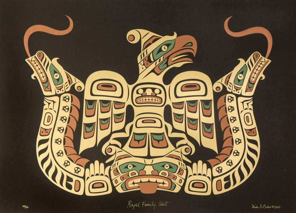 'Royal Family Crest' print by Wade Baker (Squamish/Coast Salish/Kwakwakawakw).
