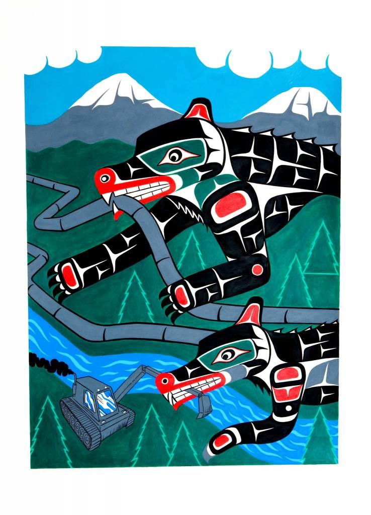 SOLD 'No pipelines - Bear and Wolf defenders' Painting by Gord Hill (Kwakwakawakw).