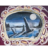 'Killer Whales at Night' Painting by Edgar Rossetti (Carrier).