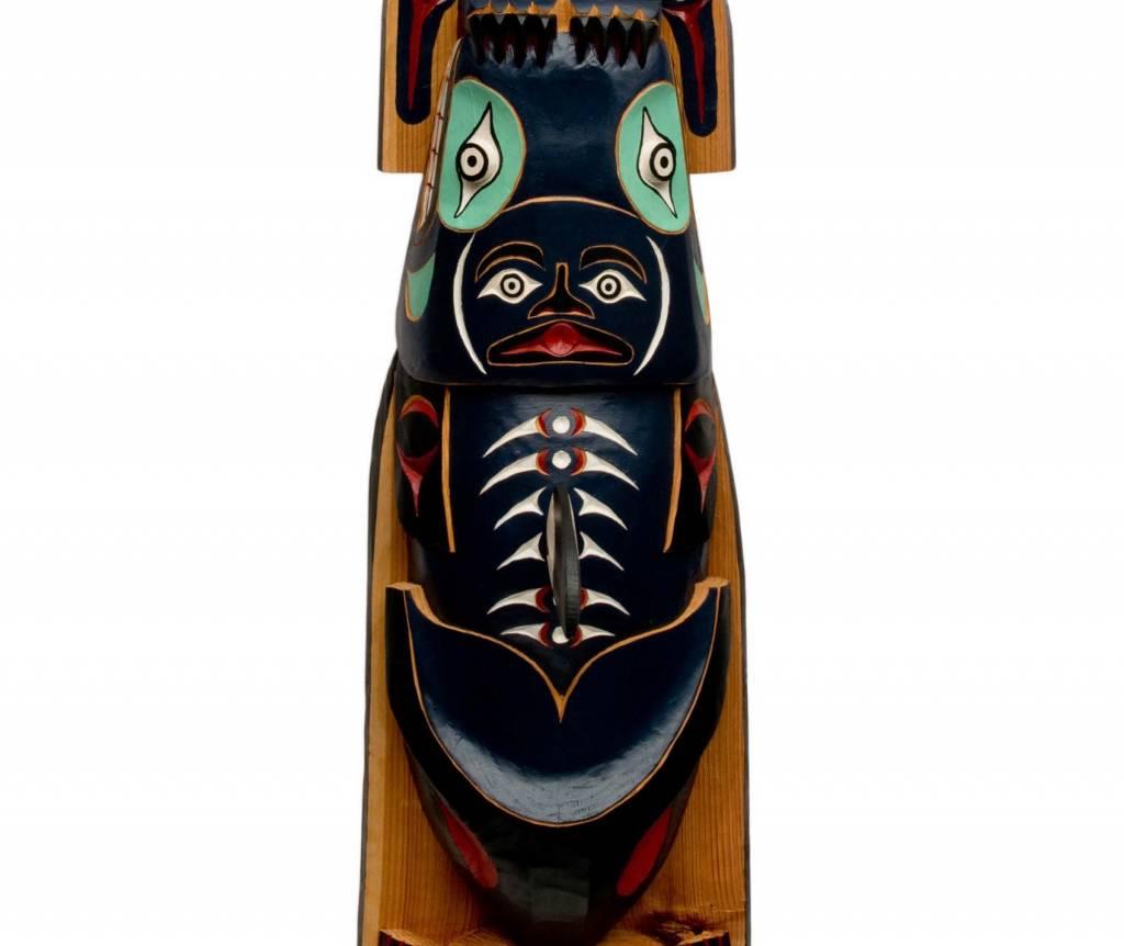 8' Raven, Killer Whale, Frog Pole Totem Pole
