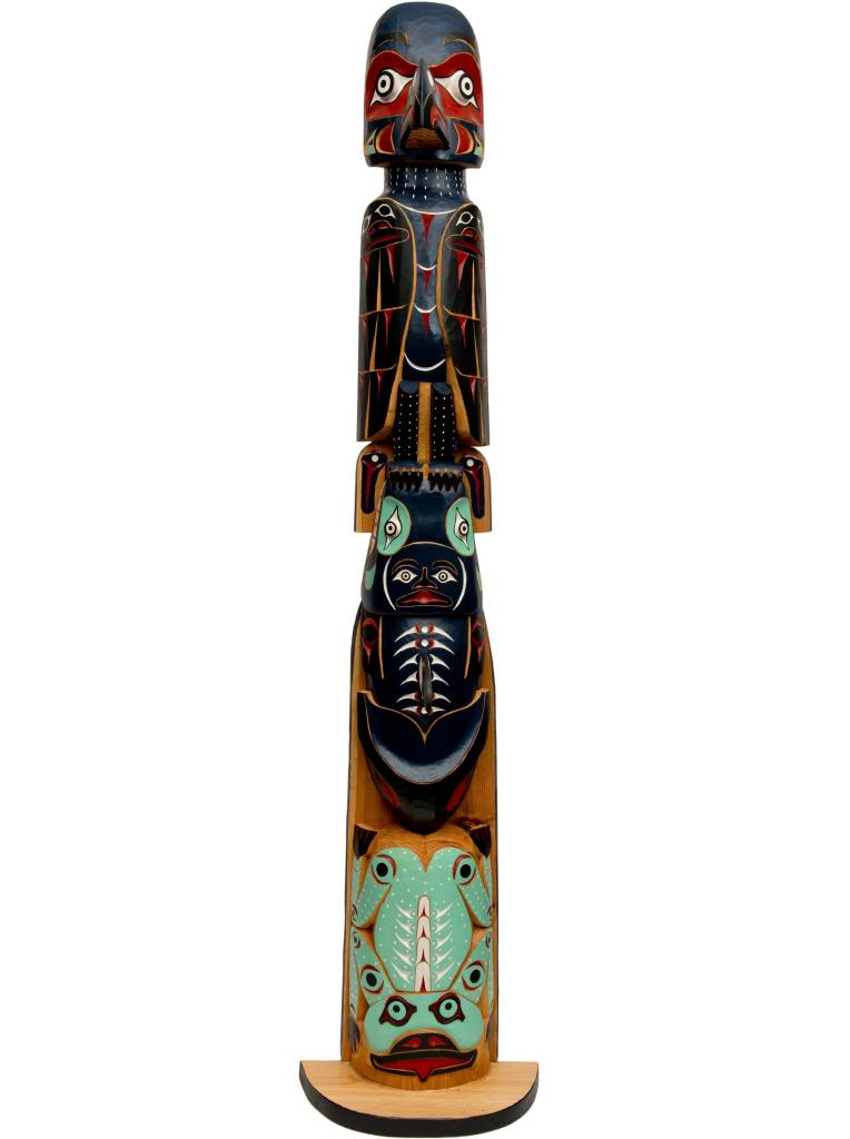 Raven, Killer Whale, Frog Pole Totem Pole by William Good