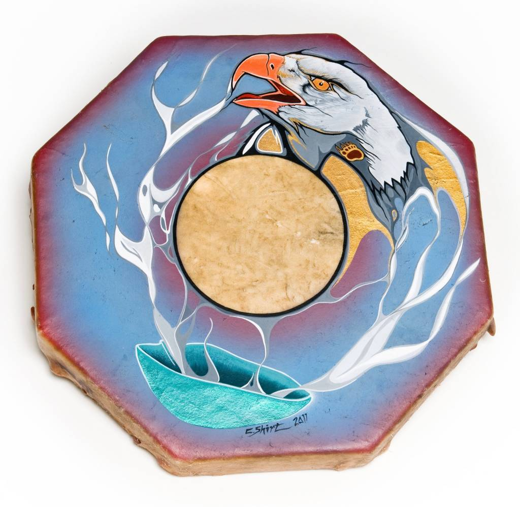 Hand Drum with 'Smudge Bowl Painting' by C. Shirt.