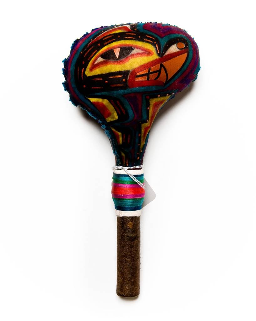 Rattle (Bear/Hummingbird) painted by Gyauustees. (Nuu-chah-nulth).
