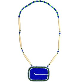 Beaded Canucks Medalion and Necklace