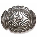 Hand Tooled Sterling Silver Southwestern Buckle.