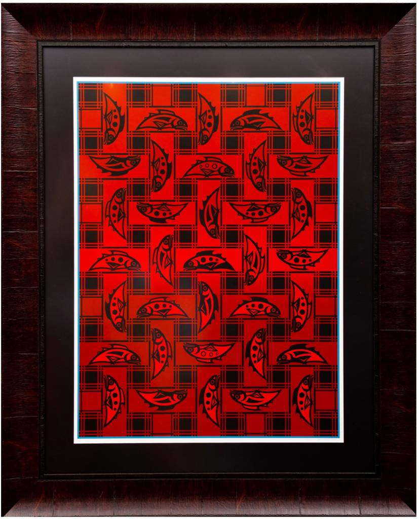'Salmon Blanket' - Framed Print by Susan Point (Coast Salish).