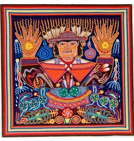 24 In. Yarn Painting by Eliseo Castro (Huichol).
