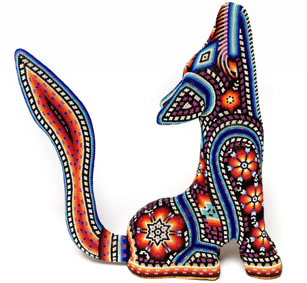 Coyote Carved and Beaded by Santos Bautista (Huichol).