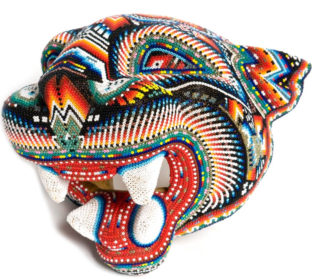 Jaguar Head Carved and Beaded by Santos Bautista (Huichol).