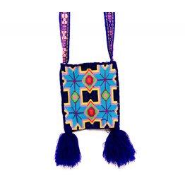 "Hand Woven 8"" by 7"" Medicine Bag (Huichol)."