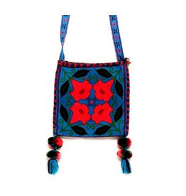 "Hand Woven 10"" by 10"" Medicine Bag (Huichol)."