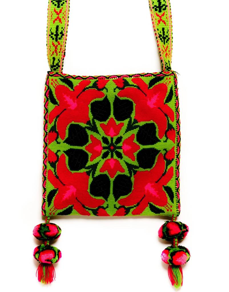 "Hand Woven 11"" by 11"" Medicine Bag (Huichol)."