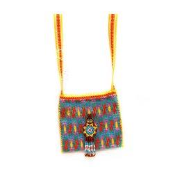 "Hand Woven 4"" by 4"" Medicine Bag (Huichol)."