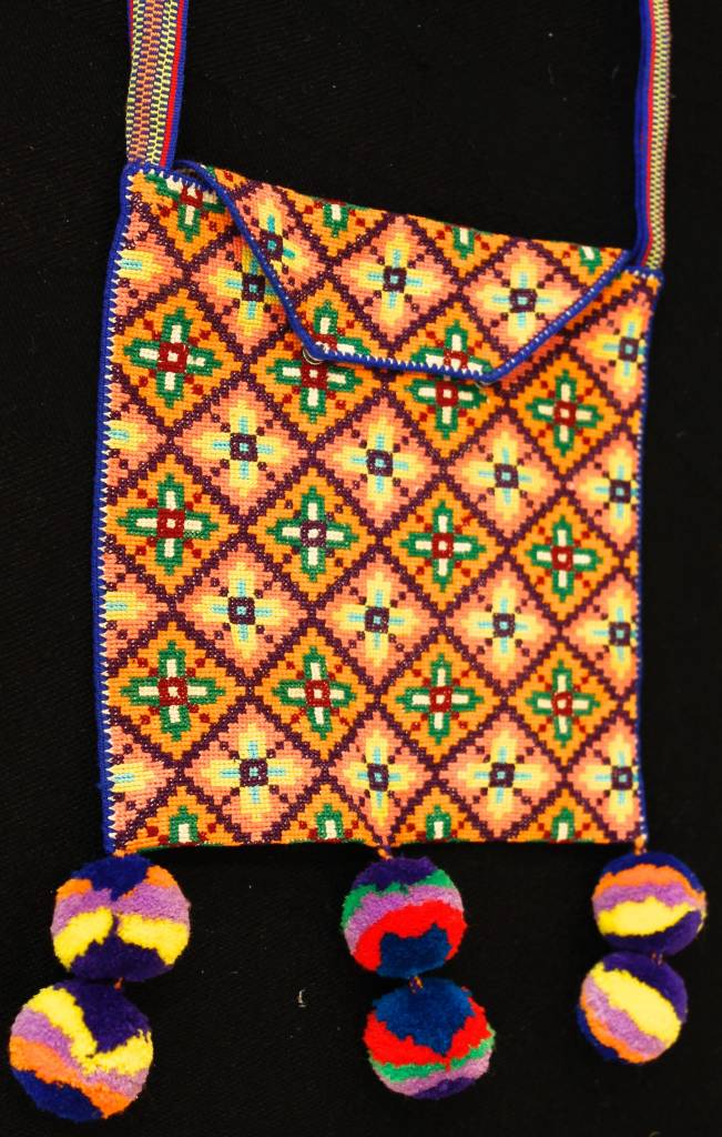 "Medicine (Peyote) Bag 8"" by 8"" by Francisco and Velina Hernandez (Huichol)."