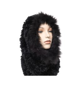 Luxuriously Soft Black Fur Cowl -Infinity Scarf with Fox Trim (Dene)