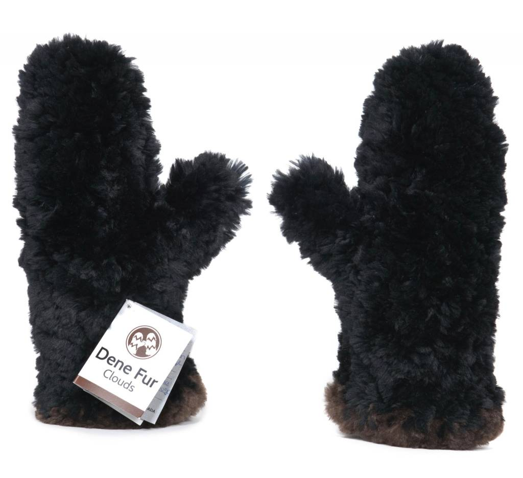 Classic Sheared Beaver Fur Mittens – Black with natural contrast edge