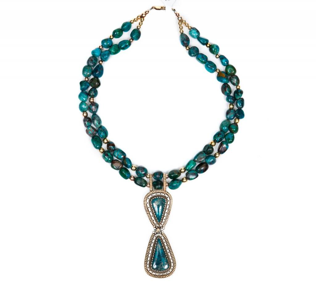 tsaw Tyrone Turquoise Necklace by Randy and Etta Endito (Navajo).