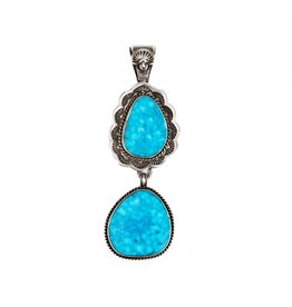 Bird's Eye Kingman Turquoise Pendant by Bryant Martinez