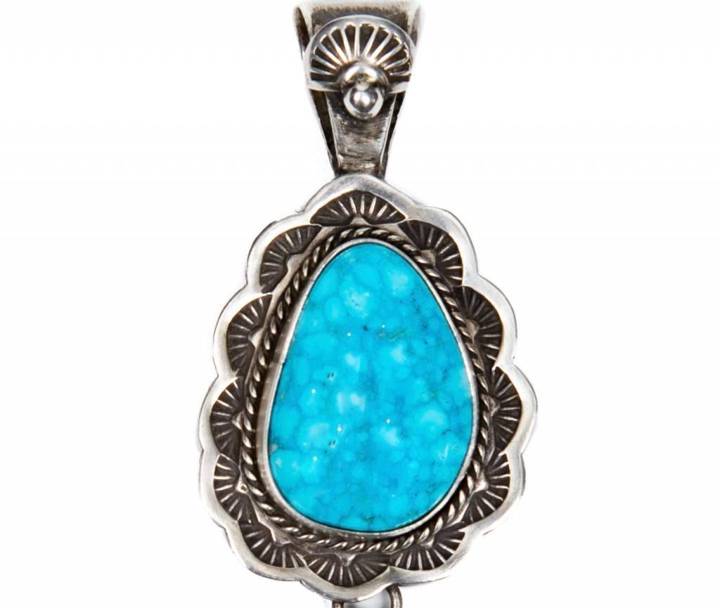 Bird's Eye Kingman Turquoise Pendant by Bryant Martinez (Navajo).
