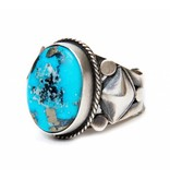 tsaw Kingman Turquoise Ring by Randy and Etta Endito (Navajo).