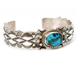 Apache Blue Turquoise Bracelet by Fred Cleveland (Navajo).