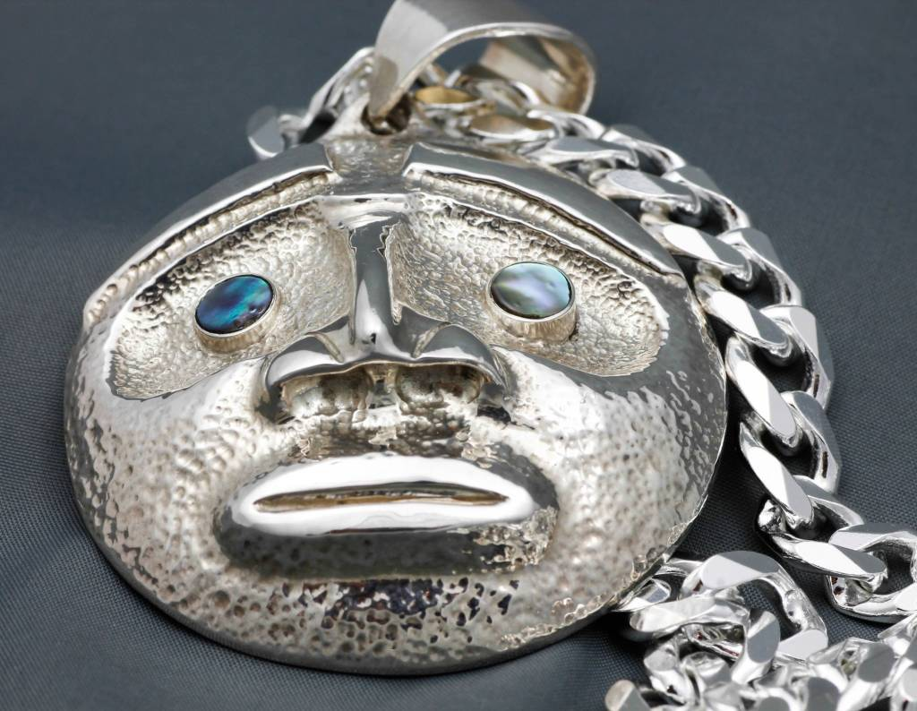 Moon Mask Repousse Pendant with Abalone Inlay