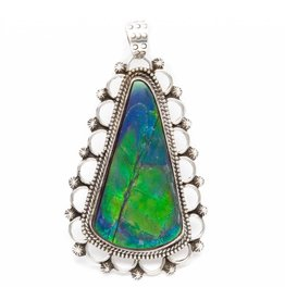 Silver Pendant with Natural Amollite by Ruth Ann Begay