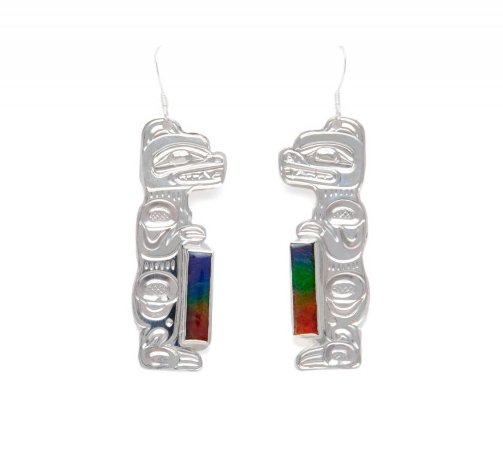 Silver with Ammolite Bear Earrings