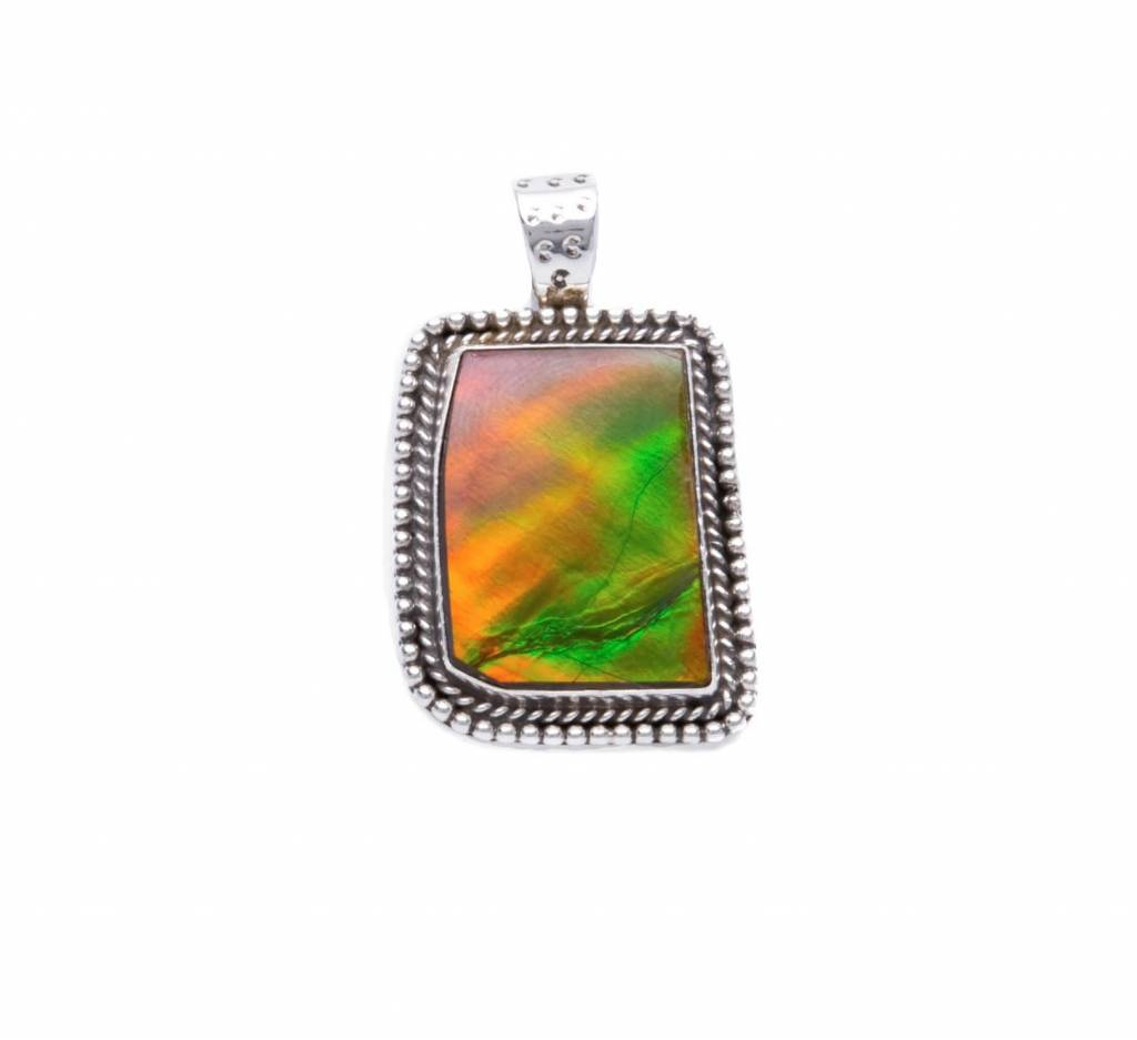 Natural Amollite Silver Pendant by Ruth Ann Begay (Navajo).
