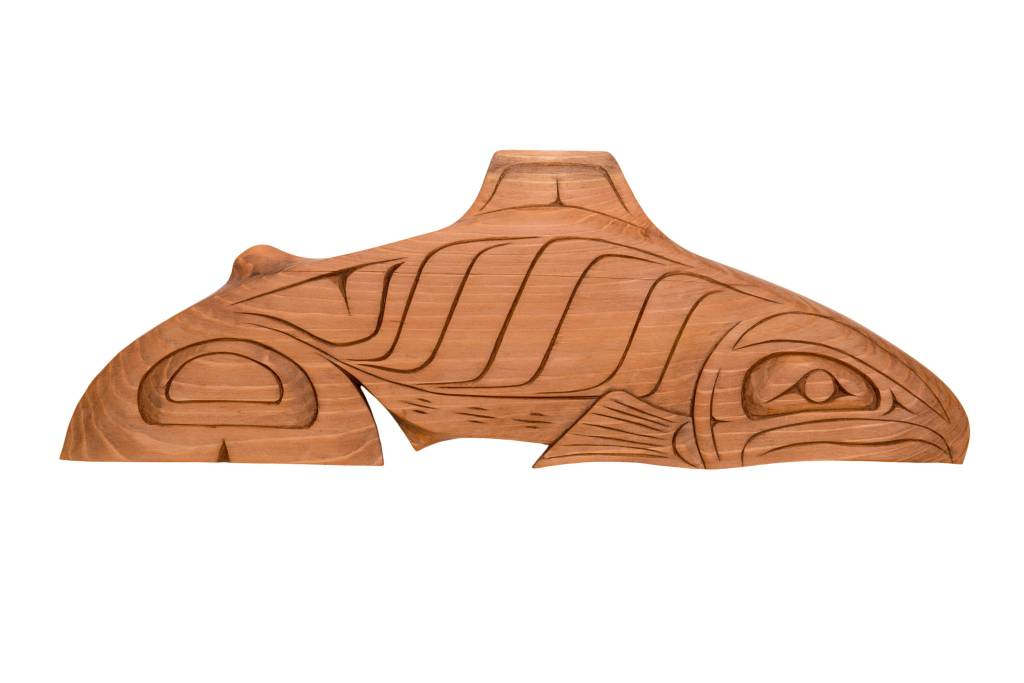 Lightly Stained Red Cedar Salmon Carving