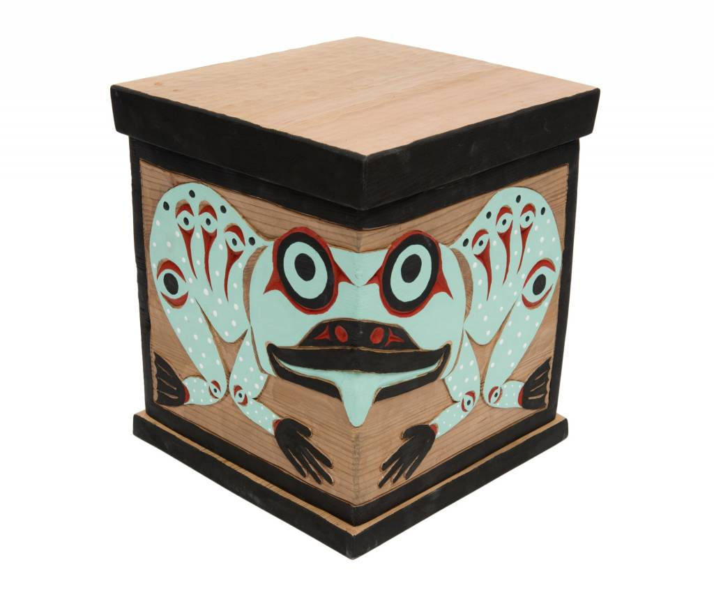 """12"""" by 10"""" Raven and Sun / Frog Bent Box by William Good (Nanaimo)."""