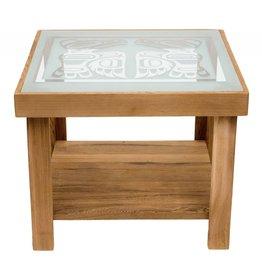 Cedar Table with Eagle Design on Glass Top