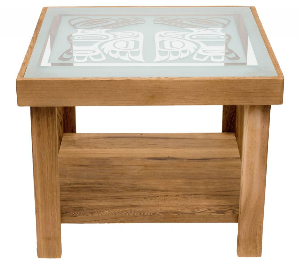 Cedar Table with Eagle Design on Glass Top by Mike Forbes